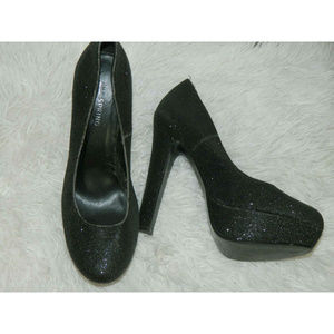 Call It Spring Shoes Black Silver Pumps Heels 7.5